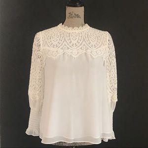 WHBM Ecru-White romantic lace  EUC blouse size 6P